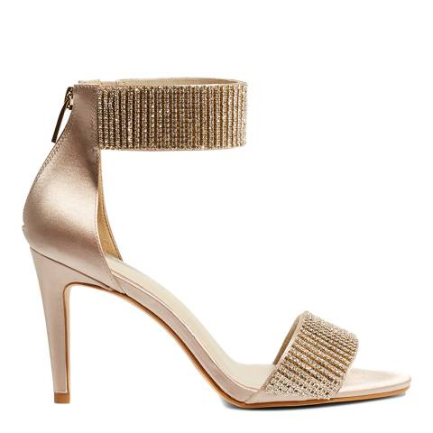 Karen Millen Nude Jewelled Ankle Cuff Sandal