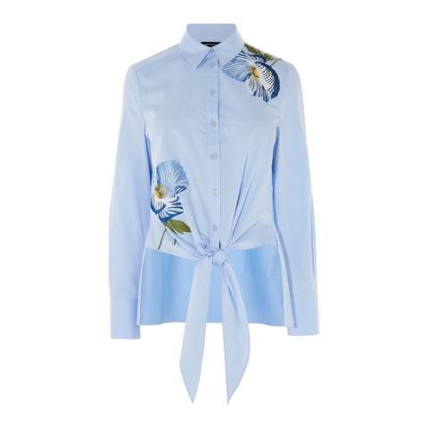 Karen Millen Blue Embroidered Shirt