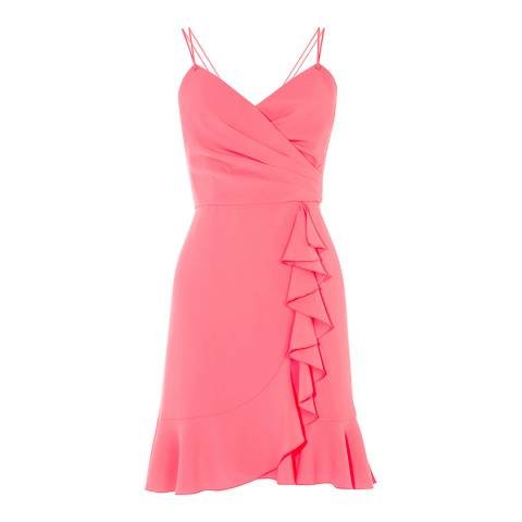 Karen Millen Pink Wrap Mini Dress