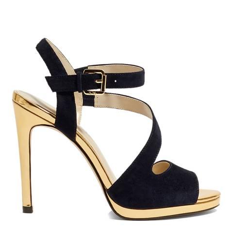 Karen Millen Blue/Gold Strappy Platform Sandal