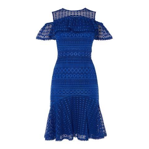 Karen Millen Blue Lace Geo Dress