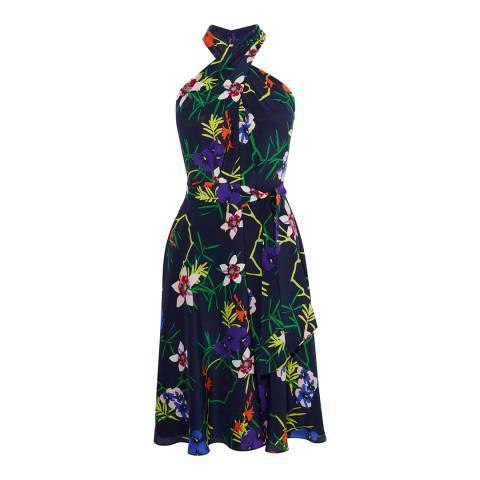 Karen Millen Navy Floral Silk Dress