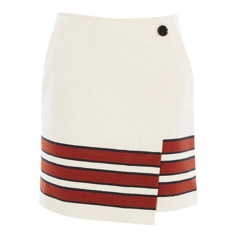 Karen Millen White Striped Textured Mini Skirt
