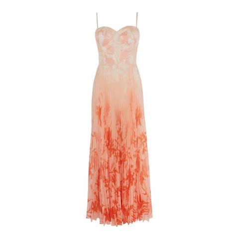 Karen Millen Orange Silhouette Palm Dress