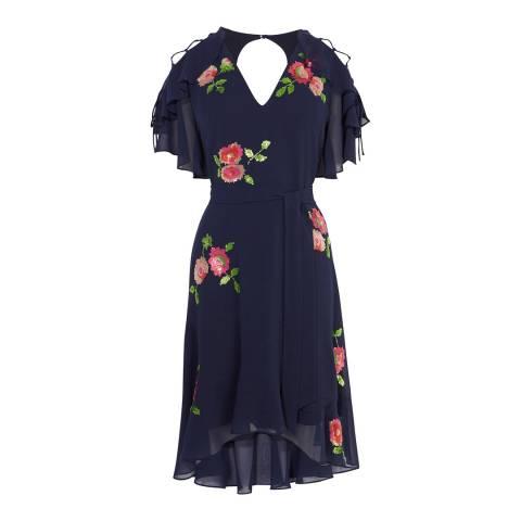 Karen Millen Navy Floral Sequin Dress