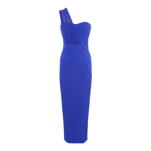 Karen Millen Blue One Strap Bustier Maxi Dress