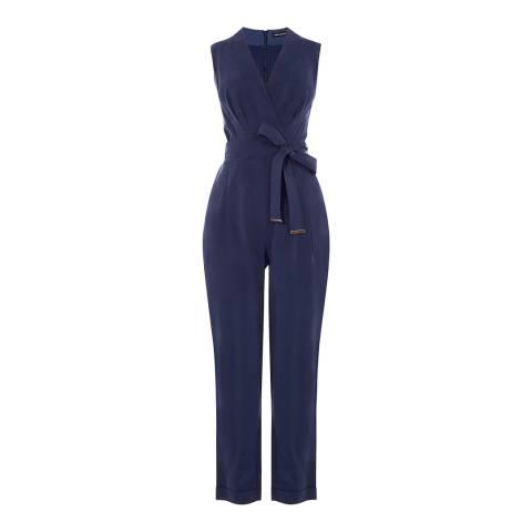 Karen Millen Dark Blue Kimono Wrap Jumpsuit