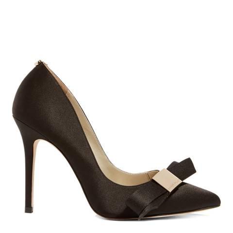 Karen Millen Black Satin Bow Leather Court Heels