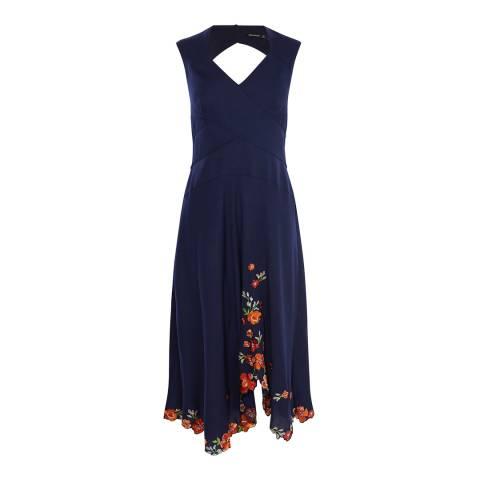 Karen Millen Navy Scattered Floral Embellished Dress