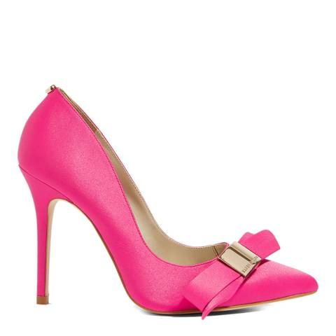 Karen Millen Pink Satin Bow Leather Court Heels