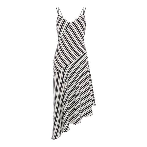 Karen Millen Black/White Engineer Stripe Print Dress