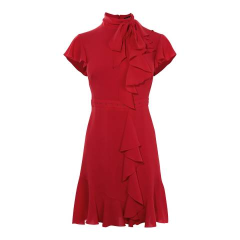 Karen Millen Red Travelling Frill Dress