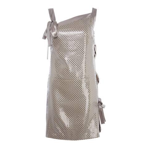Karen Millen Silver Eyelet Side Sequin Dress