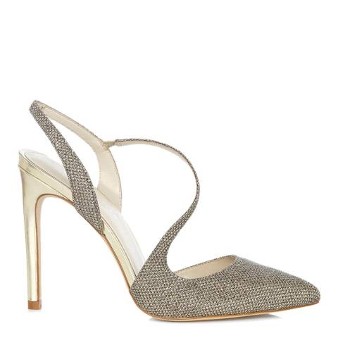 Karen Millen Gold Glitter Open Toe Leather Heels