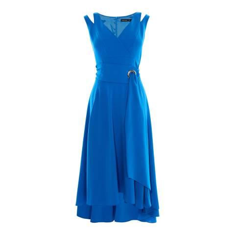 Karen Millen Blue Belted Colourful Fluid Dress