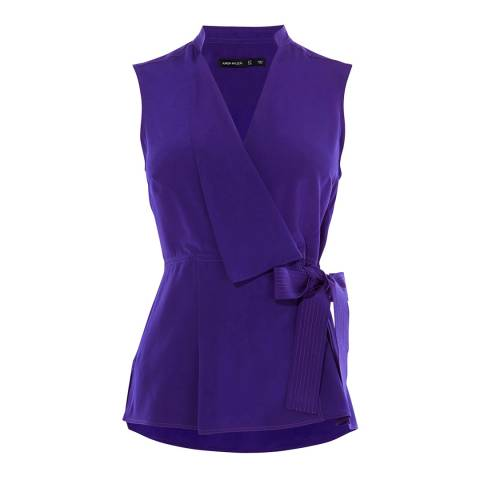Karen Millen Blue V Neck Silk Wrap Top