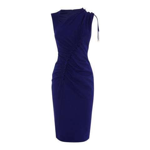 Karen Millen Blue Ruched Front Pencil Dress