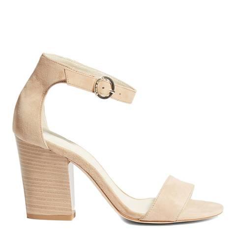 Karen Millen Nude Suede Strappy Block Sandals