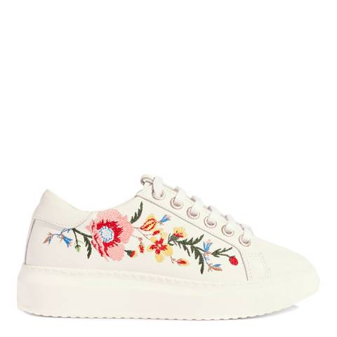Karen Millen White Embroidered Leather Trainers