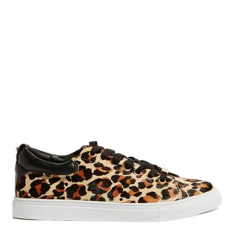 Karen Millen Multi Leopard Print Leather Trainers