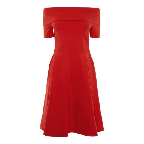 Karen Millen Red Feminine Bardot Jersey Dress