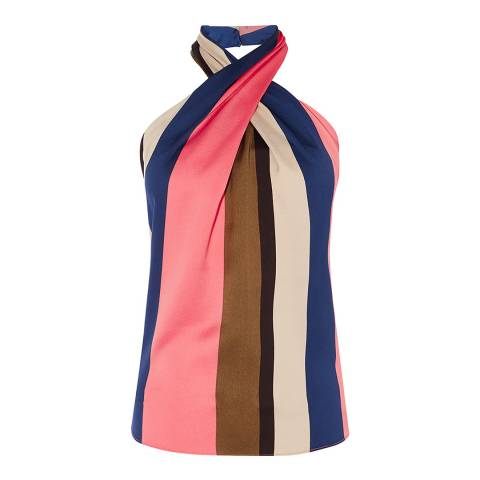 Karen Millen Multi Block Stripe Satin Top