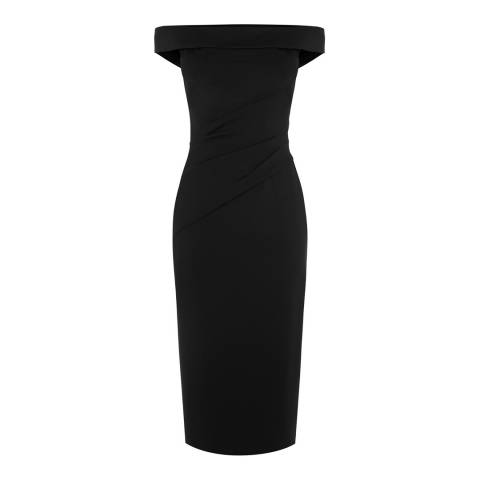 Karen Millen Black Bardot Crossover Dress