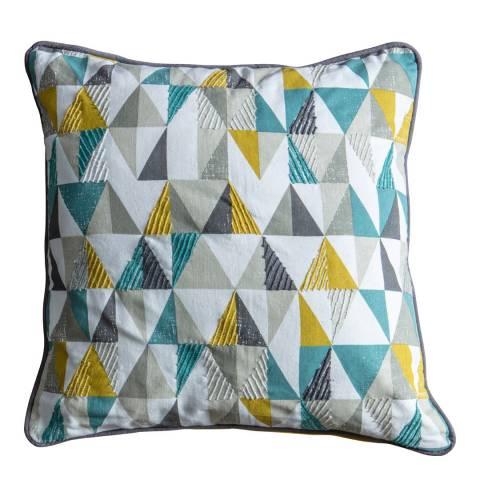 Gallery Teal & Ochre Scandi Triangle Cushion 45x45cm