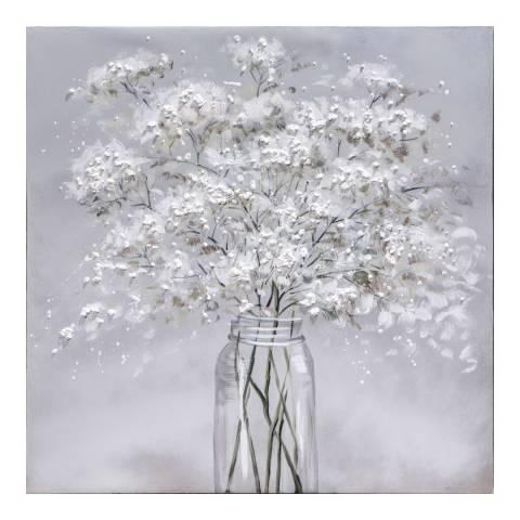 Gallery Winter Bloom Textured Art Canvas 80x80cm