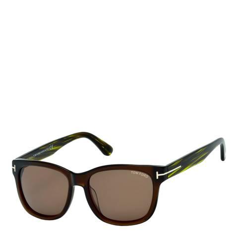 Tom Ford Women's Shiny Dark Brown/Green Sunglasses 57mm