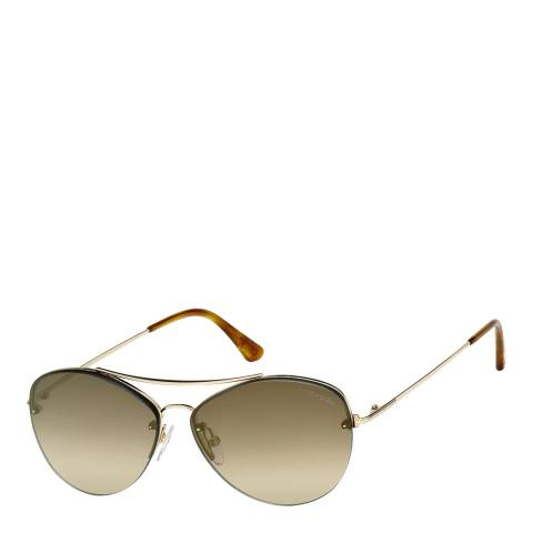 Tom Ford Women's Shiny Rose Gold/Brown Mirrored Sunglasses 60mm