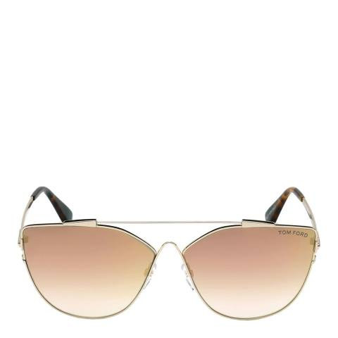 Tom Ford Women's Gold/Brown Mirrored Sunglasses 64mm