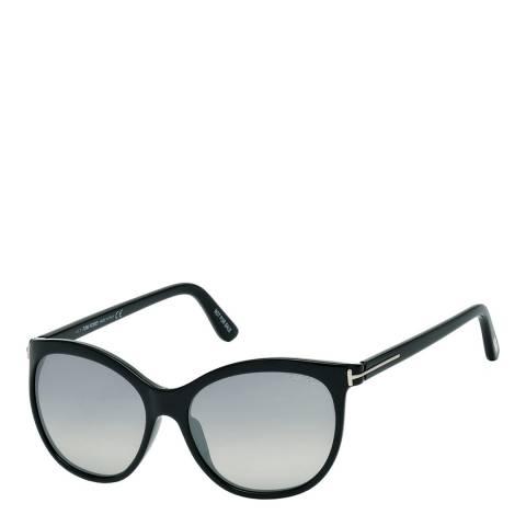 Tom Ford Women's Shiny Black/Smoke Mirrored Sunglasses 57mm