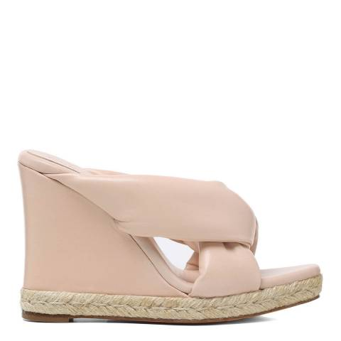 Chloé Cement Pink Leather Nori Wedge Espadrille Sandals