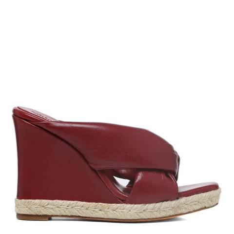 Chloé Dark Ruby Leather Nori Wedge Espadrille Sandals