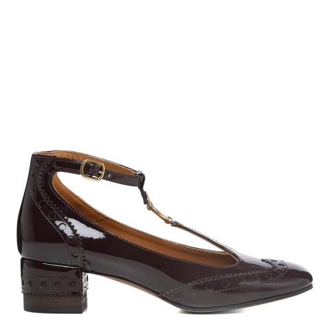 Chloé Burnt Mahogany Leather Patent Perry Pumps