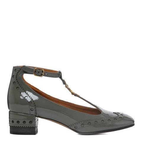Chloé Dusty Grey Leather Perry T-Bar Pumps