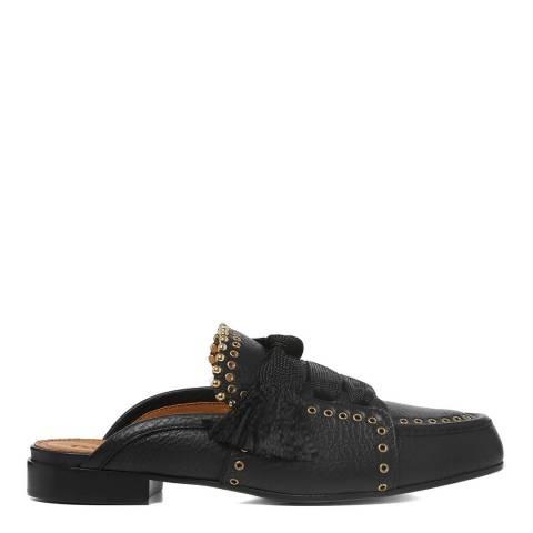 Chloé Black Leather Harper Loafer Slides