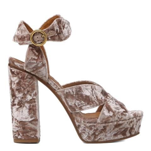 Chloé Tan Rose Velvet Graphic Leaves Heeled Sandals