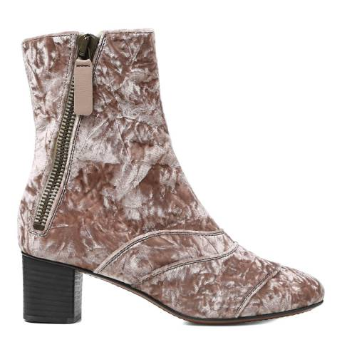 Chloé Tan Rose Crushed Velvet Lexie Ankle Boots