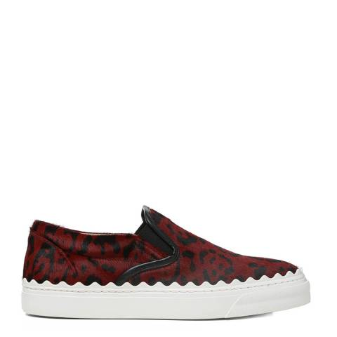 Chloé Red Leopard Ivy Slip On Sneakers