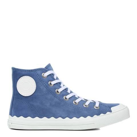 Chloé Cobalt Blue Suede Kyle Hi-Top Sneakers