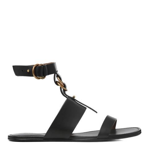 Chloe Black Leather Kingsley Flat Sandals