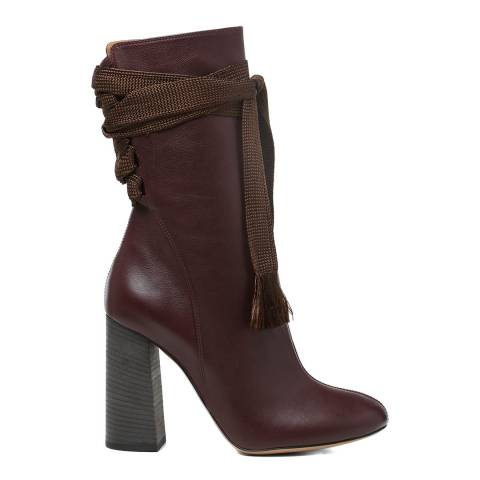 Chloe Deep Purple Leather Harper Ankle Boots