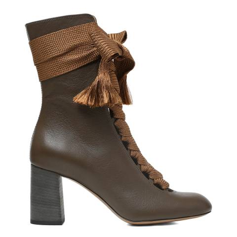 Chloé Brown Leather Harper Ankle Boots