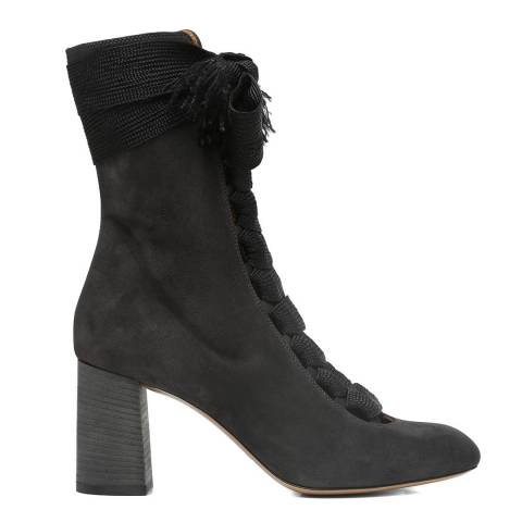 Chloé Charcoal Black Suede Harper Ankle Boots