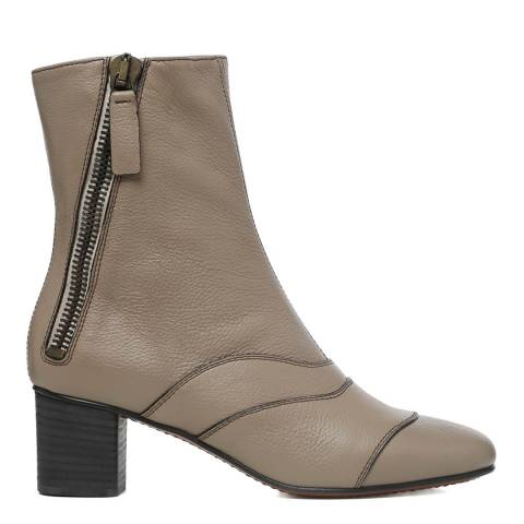 Chloé Motty Grey Leather Lexie Ankle Boots