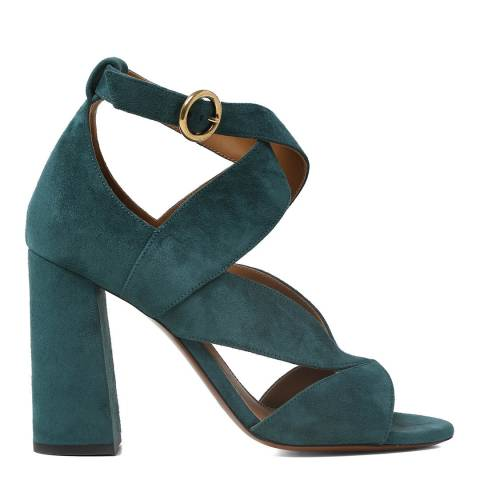 Chloé Teal Green Suede Graphic Leaves Heeled Sandals