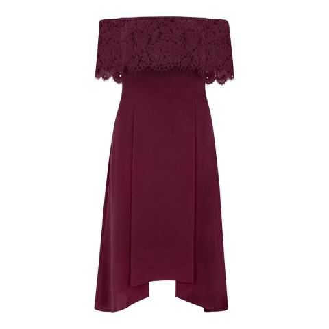 Coast Merlot Oriel Lace Bardot Curve Dress