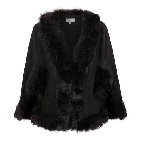 Coast Black Amber Knit Faux Fur Cape